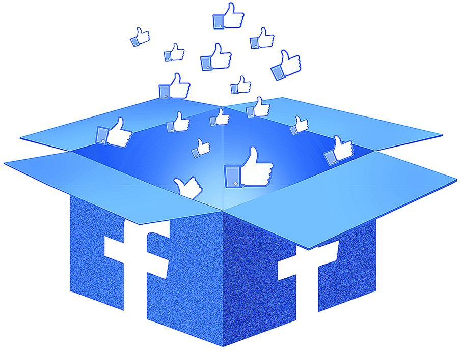 N obrázku je krabica s logom facebooku. Je otvorená a vylietavajú z nej ruky s palcom hore - symbol super a pod.