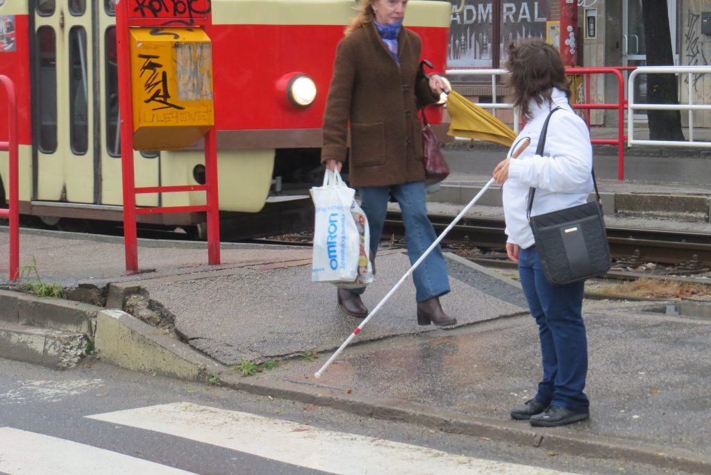 Nevidiaca na priechode signalizuje palicou záujem prejsť
